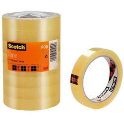 Taśma biurowa ekonomiczna SCOTCH (508), 19mm, 66m, 8szt., transparentny żółty