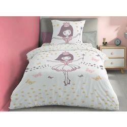 Pościel 100% bawełny BALLERINE- 140x200 cm + 1 poszewka na poduszkę 65 x 65 - Kolor biały i różowy