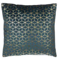 Poduszka dekoracyjna wzorzysta welur ciemnoniebieska 45 x 45 cm