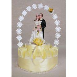 Stroik na tort weselny wstążka łosoś mała para