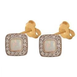 Złote kolczyki naturalny kamień Opal