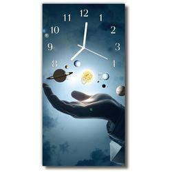 Zegar Szklany Pionowy Planety układ słoneczny niebieski