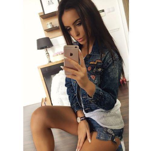 Kurtki damskie, Kurtka jeansowa damska granatowa Denley 5164
