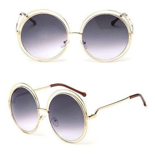 Okulary przeciwsłoneczne, Okulary damskie okrągłe przeciwsłoneczne złote