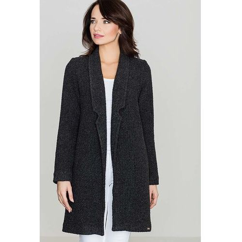 Płaszcze damskie, Przejściowy Czarny Płaszcz bez Zapięcia