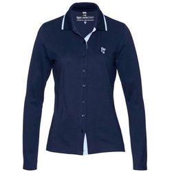 Shirt polo z bawełny pique bonprix ciemnoniebiesko-perłowy niebieski