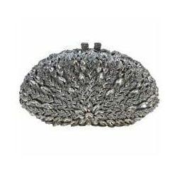 Torebka wieczorowa, ślubna z kryształkami w kształcie muszli, osadzane ręcznie kryształkami nr 4