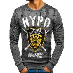 Bluza męska bez kaptura z nadrukiem grafitowa Denley DD261
