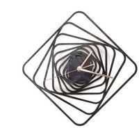 Zegary, Drewniany zegar na ścianę Kwadratowe spirale ze złotymi wskazówkami Dekoracje drewniane na ścianę (-10%)