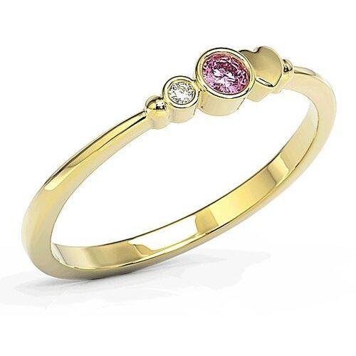 Pierścionki i obrączki, Pierścionek z żółtego złota z cyrkoniami Swarovski różową i białą BP-6809Z-C - Żółte \ BP-6809Z