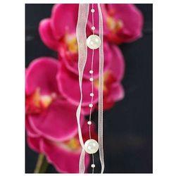 Girlanda z perełkami i wstążką w kolorze kremowym - 1,2 m - 1 szt.