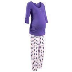 Piżama do karmienia piersią (2 części) bonprix lila z nadrukiem