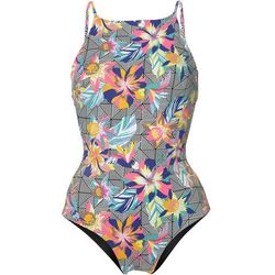 O'Neill HIGH NECK SWIMSUIT Kostium kąpielowy black/graphic small pink