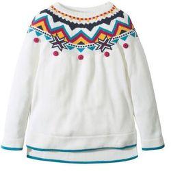 Sweter dzianinowy w norweski wzór bonprix biel wełny - kolorowy