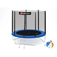 Trampoliny, Trampolina ogrodowa 8ft (244cm) z siatką zewnętrzną Hop-Sport -3 nogi - 244 cm \ niebieski
