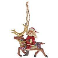 Ozdoby świąteczne, Mikołaj zawieszka Santa Riding Reindeer (Hanging ornament) 4058816 Jim Shore figurka ozdoba świąteczna