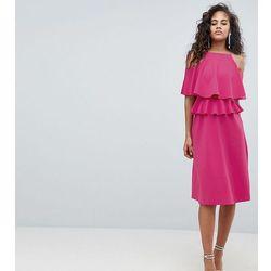 ASOS DESIGN Tall Midi High Neck Ruffle Skater Dress - Pink