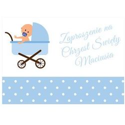 Zaproszenia personalizowane na chrzest Niebieski Wózek - 8 szt.
