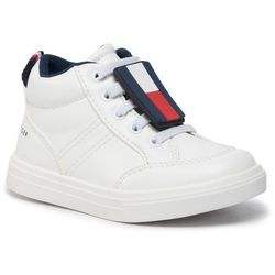 Sneakersy TOMMY HILFIGER - High Top Lace-Up Sneaker T1B4-30495-0741 White 100