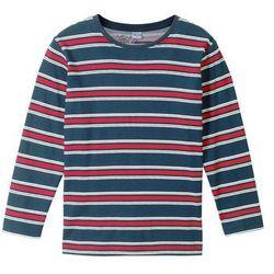 Shirt w paski z długim rękawem bonprix niebiesko-czerwono-biel wełny w paski