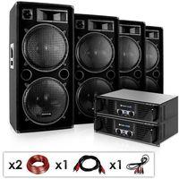 """Głośniki i monitory odsłuchowe, Electronic-Star DJ PA zestaw """"Phuket Pulsar Pro"""" 2x wzmacniacz 4x kolumna"""