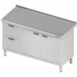 Stół przyścienny z blokiem dwóch szuflad po lewej stronie i szafką z drzwiami skrzydłowymi 1200x600x850 mm | STALGAST, 980326120