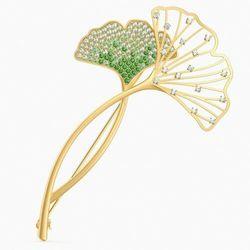 Broszka Stunning Ginko, zielona, powłoka w odcieniu złota