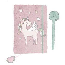 Pluszowy pamiętnik A5 z gumką i długopisem Unicorn