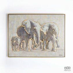 Obraz ręcznie malowany - Rodzina słoni 102415