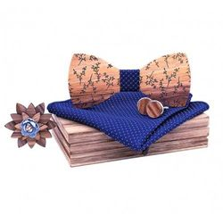 Drewniany komplet T05: muszka, spinki, poszetka i broszka