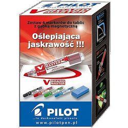 Markery suchościeralne V BOARD MASTER Pilot 4 kolory + gąbka magnetyczna