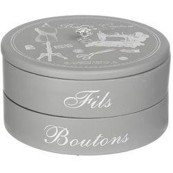 Szare pudełko na biżuterię w stylu glamour, pudełko na biżuterię, pudełko ozdobne, pudełko okrągłe, pudełko z przegródkami