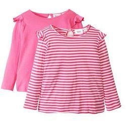 Długa koszulka z falbankami (2 szt.) bonprix różowy flaming - biały w paski + różowy flaming