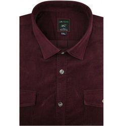 Duża Koszula Męska Laviino sztruksowa gładka bordowa na długi rękaw Duże rozmiary A296