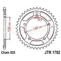 Zębatka tylna stalowa JT 1792-42, 42Z, rozmiar 525 2301344 Triumph Bonneville 800