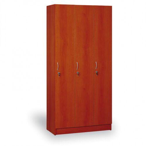 Szafki do przebieralni, Drewniana szafa ubraniowa trzydrzwiowa, 1900x900x420 mm, kalwados