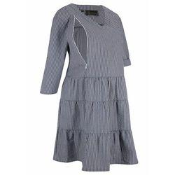 Sukienka szmizjerka ciążowa i do karmienia bonprix ciemnoniebiesko-biały w paski