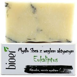 Mydło z masłem Shea i węglem aktywnym - Eukaliptus - 130g - marki Bioer