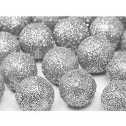 Dekoracyjne brokatowe kule - srebrne - 2 cm - 25 szt.