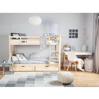Łóżka, Łóżko piętrowe drewniane jasnobrązowe 90 x 200 cm REVIN