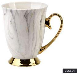 SELSEY Kubek do herbaty Scyler 330 ml marmurowo-złoty