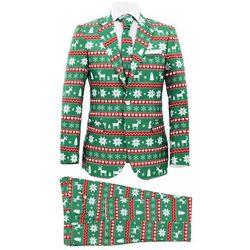 Świąteczny garnitur męski z krawatem, 2-częściowy, 52, zielony