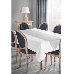 Elegancki obrus plamoodporny SUE-4 z szarfą 160x300 EUROFIRANY biały/ srebrny