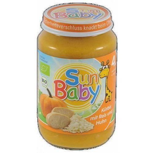Obiadki dla dzieci, 4 mc DYNIA, RYŻ, KURCZAK BEZGLUTENOWE BIO 190 g - SUN BABY