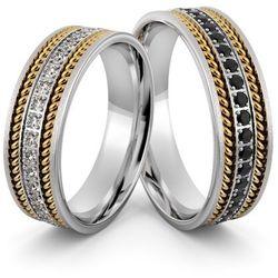Obrączki srebrne z złotymi warkoczami i biało czarnymi cyrkoniami - wzór Ag-399