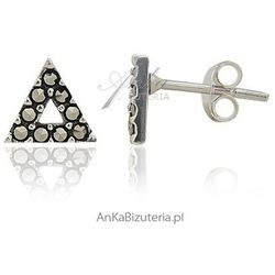 ankabizuteria.pl Kolczyki srebrne z markazytami - wkrętki - w kształcie trójkąta