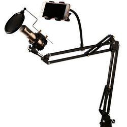 REMAX CK-100 stołowy uchwyt statyw mikrofonowy z filtrem POP czarny