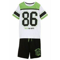 Shirt chłopięcy + krótkie spodnie (2 części), bawełna organiczna bonprix biało-czarny