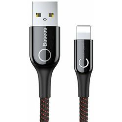 Kabel Baseus C-shaped Light 1M 2.4A iPhone X 8 7 plus 6 5 black - Czarny