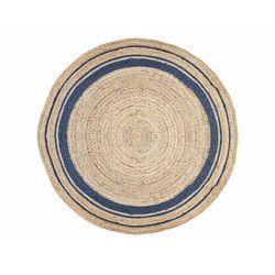 Okrągły dywan BHOPAL - 100% juty - Śred. 150 cm - kolor naturalny i niebieski